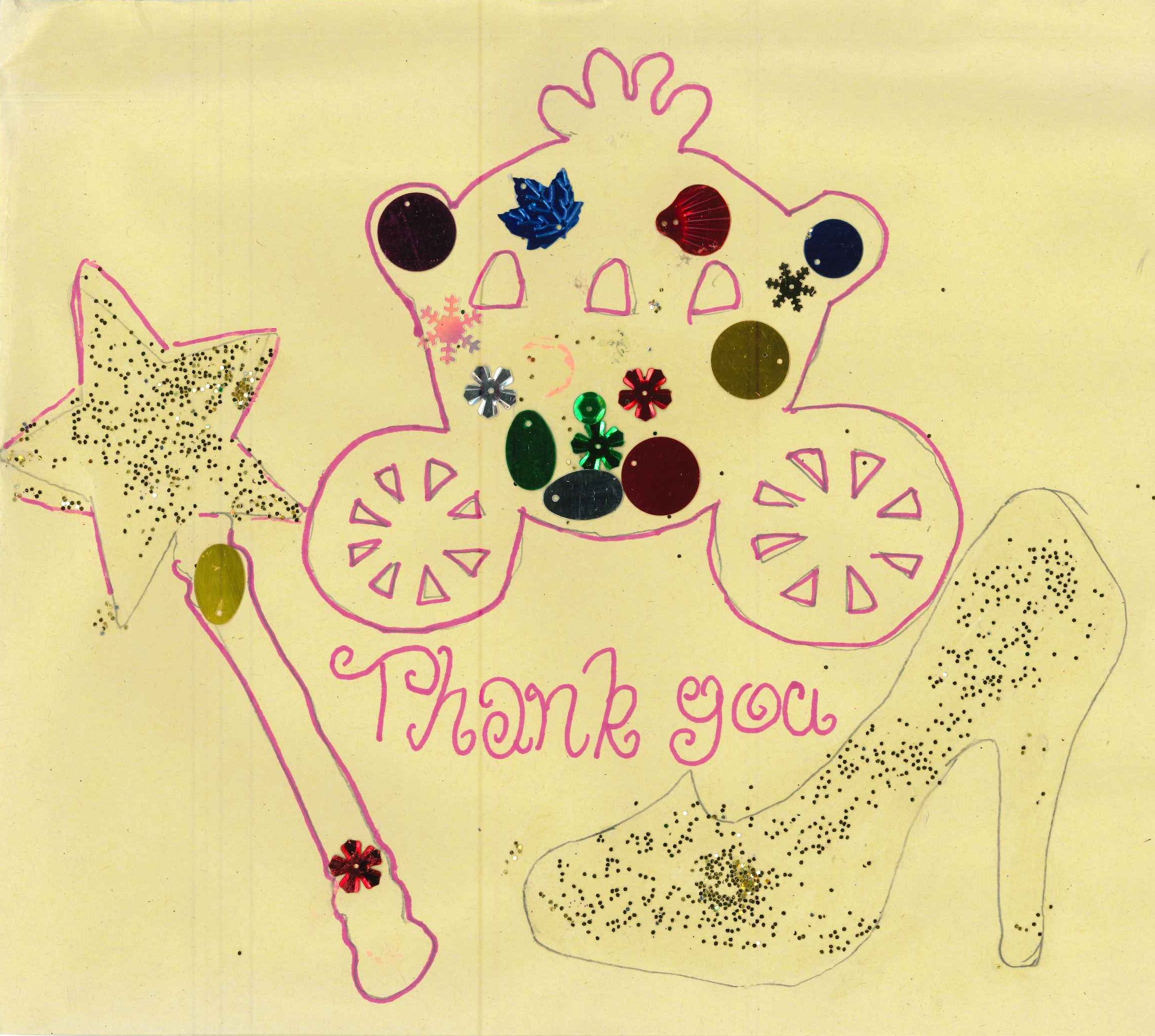 Glitter wand, shoe and carriage thank you card Cinderella