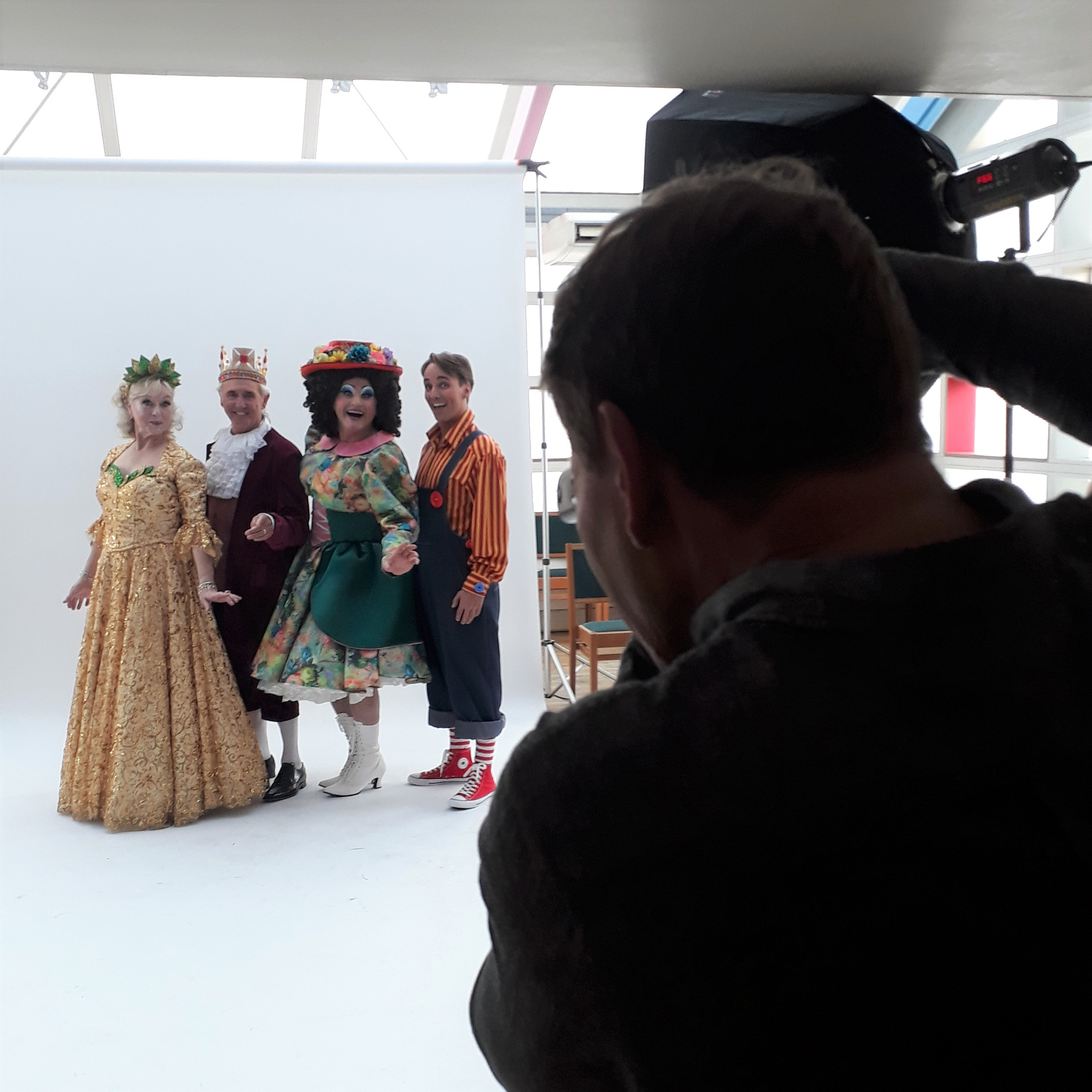 Four pantomime actors having their photograph taken at the photo-shoot