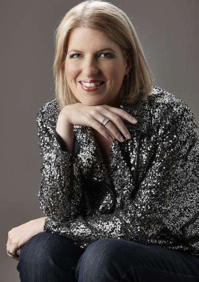 Clare Teal in sparkling top
