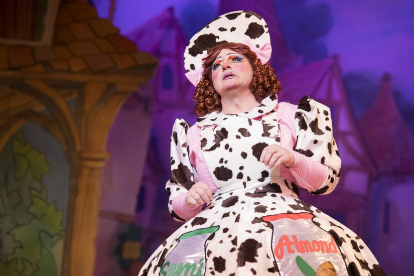 Dame Trott in a cow costume