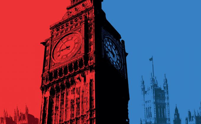 Big Ben on a background of red versus blue