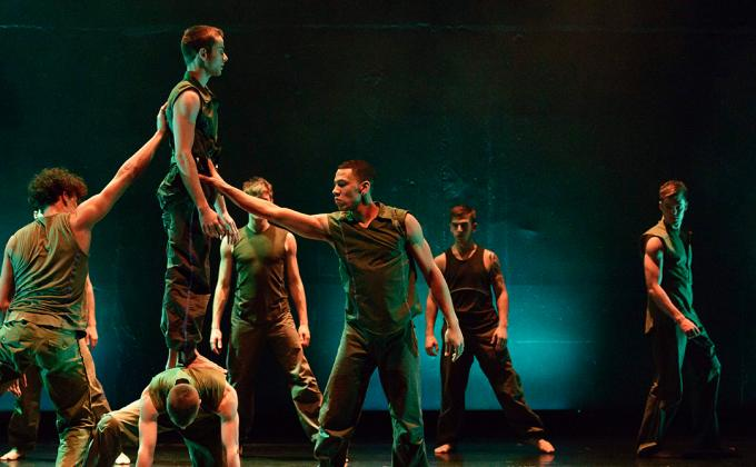 BalletBoyz dance with green light background