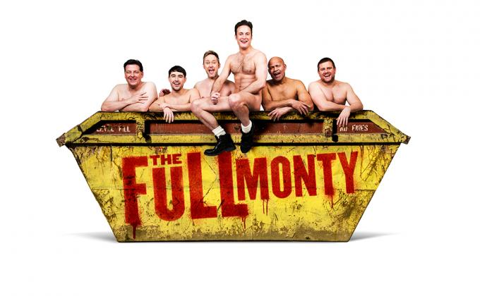 6 NAKED MEN SIT ON A SKIP WITH SHOW TITLE ON
