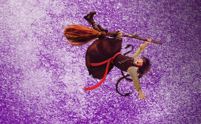 A young witch falls off her broomstick against a purple background