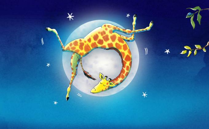 A giraffe dances in front of a moon, leaf branches creep out from the sides of the image