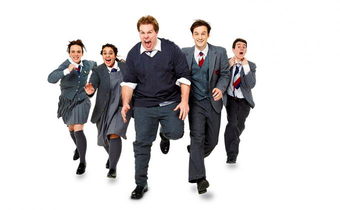 5 people in school kid costumes running forward