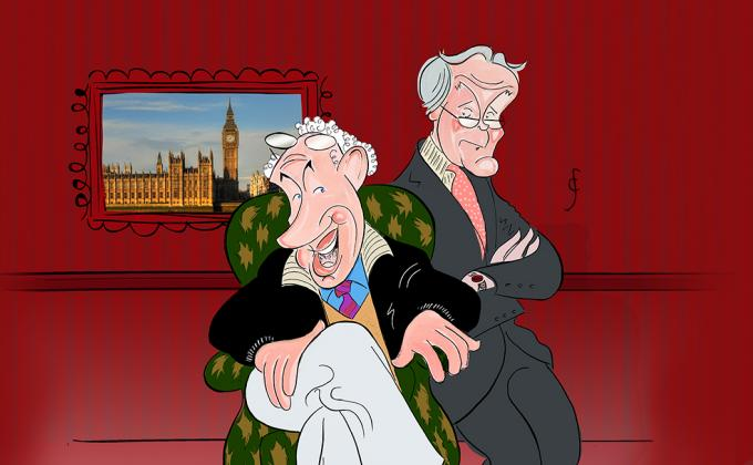 Caricature sketch of Simon Callow and Clive Francis as their characters. There is a portrait of Westminster on the wall.