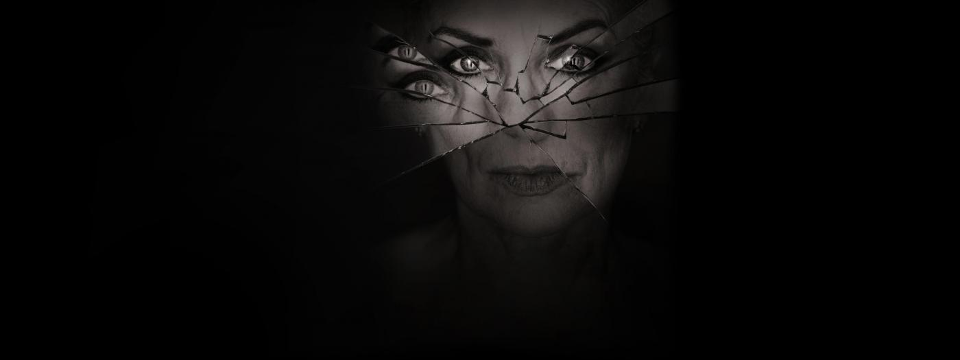 A woman's cracked mirror-like face